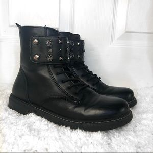Geox Leather Black Lace Up Combat Boots w/ studs